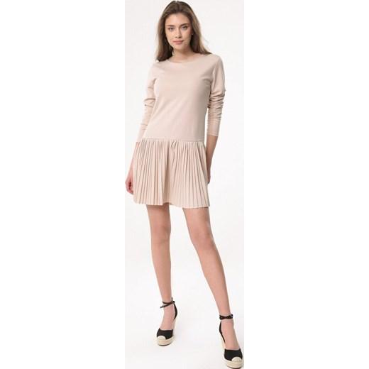 4579f6df05 ... Sukienka Born2be dzienna z długimi rękawami mini z okrągłym dekoltem ...