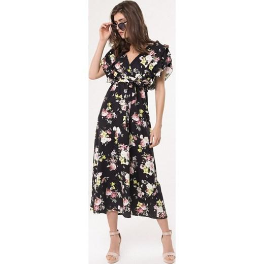 9c7d891643 Sukienka Born2be z krótkimi rękawami w kwiaty  Sukienka Born2be  wielokolorowa maxi prosta ...
