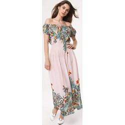 ec1c07f5f1 Sukienka Born2be maxi w kwiaty na spacer z dekoltem typu hiszpanka