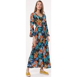 89683e53ed Sukienka wielokolorowa Born2be na wiosnę maxi rozkloszowana na spacer