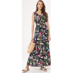 482ac85692 Wielokolorowa sukienka Born2be rozkloszowana maxi na wiosnę bez rękawów  casual