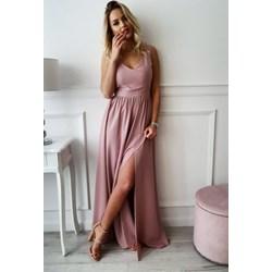43cc02f719 Sukienka różowa elegancka bez rękawów maxi z elastanu karnawałowa