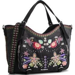 1257d92127 Shopper bag Desigual z kolorowym paskiem mieszcząca a8 ze zdobieniami ...