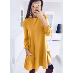baeedac509 Sukienka Pakuten casual mini gładka żółta z długim rękawem na co dzień