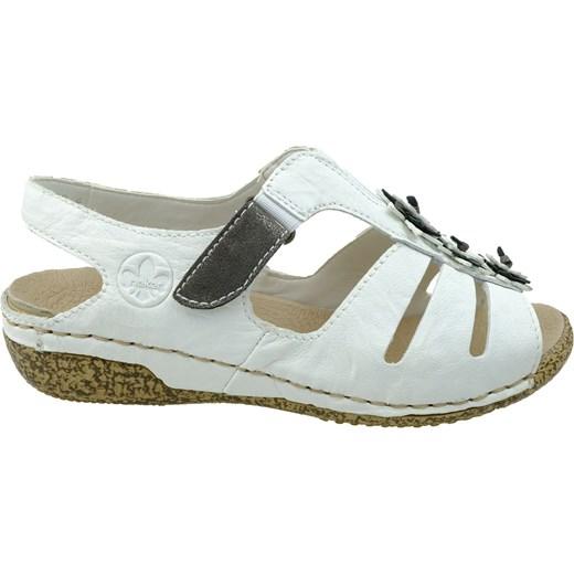Białe sandały damskie Rieker z niskim obcasem gładkie na rzepy na koturnie