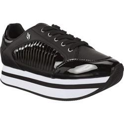 f684596b46f0e Buty sportowe damskie Armani Jeans sneakersy młodzieżowe czarne na płaskiej  podeszwie bez wzorów sznurowane wiosenne