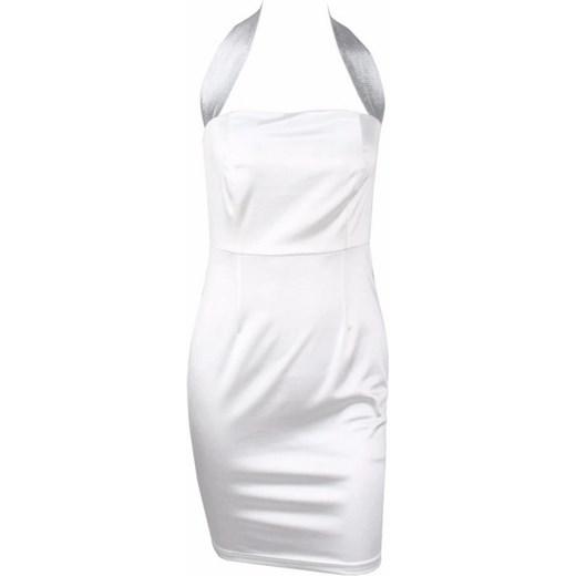 Sukienka biała z dekoltem karo mini bez rękawów Odzież