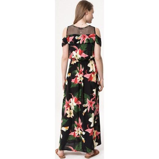 0b6a928bad ... Sukienka Born2be maxi z okrągłym dekoltem z krótkim rękawem w kwiaty na  spacer prosta ...