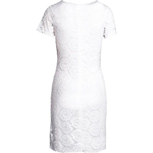 c2e404949b ... Sukienka biała Born2be na urodziny z okrągłym dekoltem dopasowana z  krótkim rękawem ...