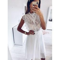 48bfa43701 Pakuten sukienka biała bez rękawów z okrągłym dekoltem