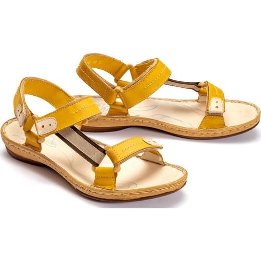 Sandały damskie żółte Łukbut casualowe płaskie bez wzorów Buty Damskie UR żółty Sandały damskie SUNX
