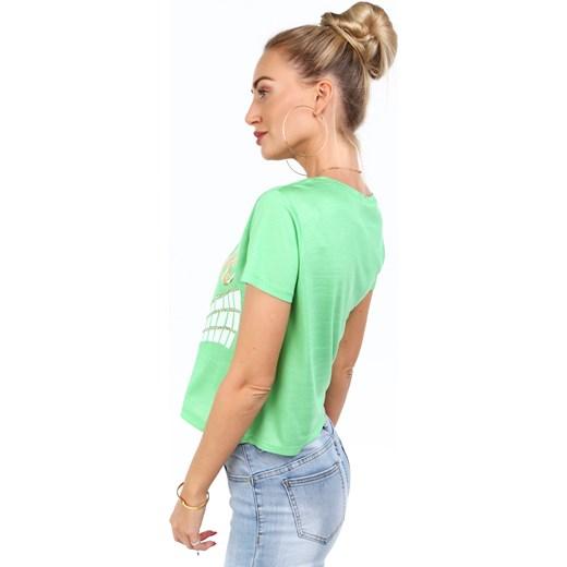 najlepszy Fasardi bluzka damska z napisem zielona z tkaniny z okrągłym dekoltem Odzież Damska MF zielony Bluzki damskie JYSK