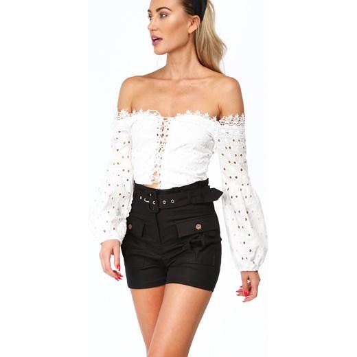 Bluzka damska Fasardi z długim rękawem z dekoltem typu hiszpanka letnia Odzież Damska TJ biały Bluzki damskie FQEH Stała usługa