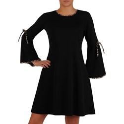 47037e2017eb9c Sukienka gładka z okrągłym dekoltem z długimi rękawami z dzianiny