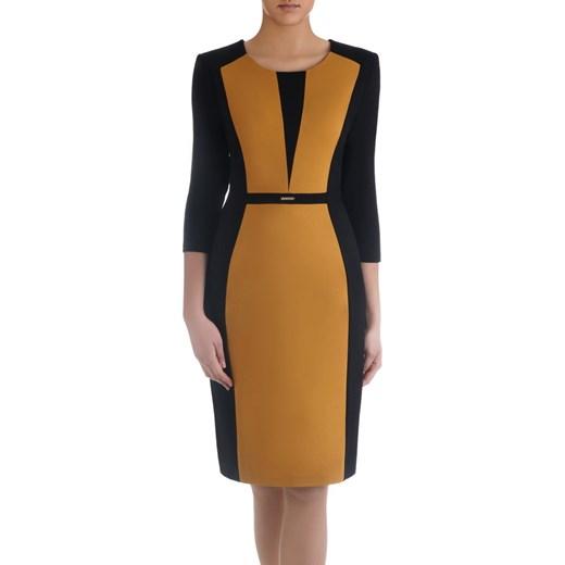 ba6a7f8eb Wyszczuplająca sukienka z broszką 14889, dwukolorowa kreacja na wiosnę.  Modbis