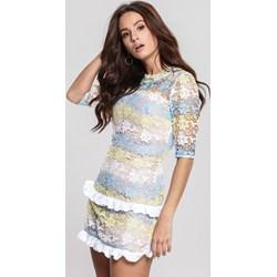 6768113a7f Sukienka Renee wielokolorowa z długimi rękawami mini z okrągłym dekoltem