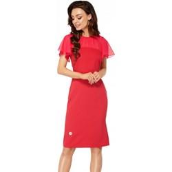 5bd58d4a205bcf Sukienka czerwona Lemoniade na wiosnę na randkę z krótkimi rękawami prosta