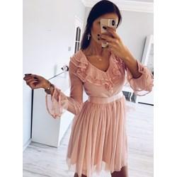 ac6018bc08 Różowa sukienka Pakuten mini bez wzorów