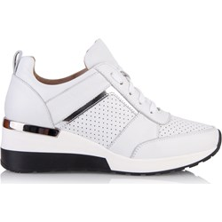 6e538d1c Sneakersy damskie białe Arturo Vicci sznurowane skórzane wiosenne bez wzorów
