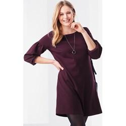 98665b34b6 Sukienka Tchibo fioletowa z okrągłym dekoltem dzienna trapezowa bez wzorów