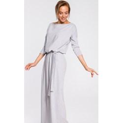 7853f29f8d1a22 Sukienka Moe na co dzień biała maxi z dekoltem w łódkę bawełniana