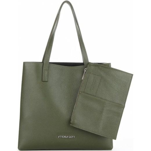 96684cfcea842 ... Vittoria Gotti Klasyczne Torebki Skórzane Włoski Elegancki Shopper z  Etui na każda okazję Zielony (kolory ...