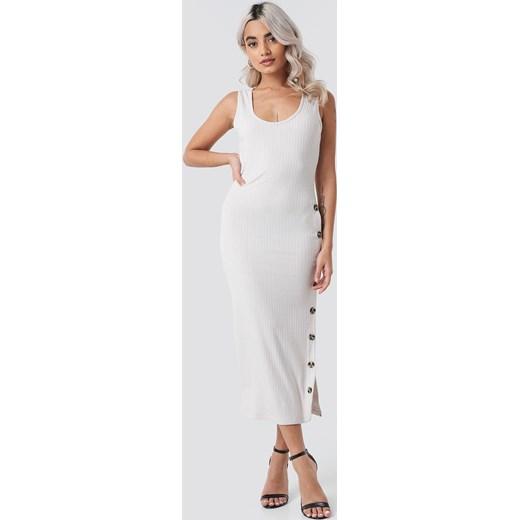 cd26c68b Sukienka Rut&Circle biała prosta z okrągłym dekoltem na co dzień bez rękawów