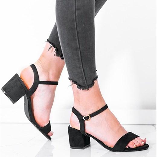 Czarne sandały na niskim słupku Julietta - Obuwie Royalfashion.pl Buty Damskie FX czarny Sandały damskie YWKV