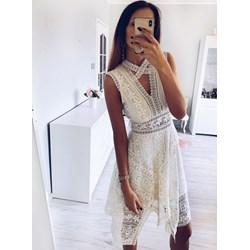 bbba6bddb1 Sukienka biała Pakuten na urodziny asymetryczna koronkowa