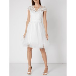 cebca8a215 Sukienka Unique z krótkim rękawem biała na ślub cywilny z dekoltem w literę  v elegancka midi