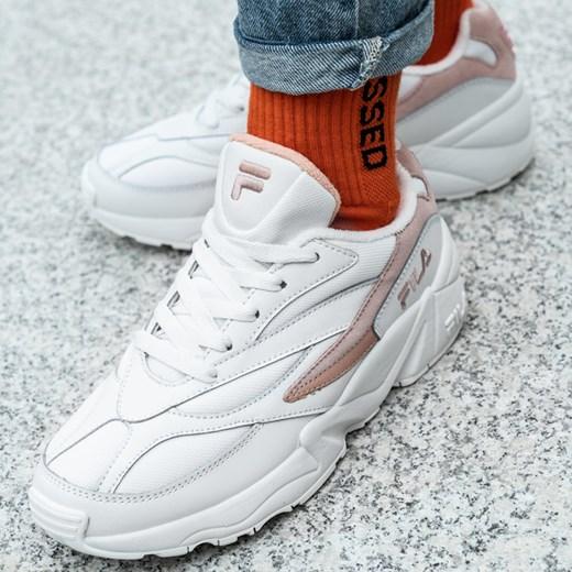 Buty sportowe damskie Fila do koszykówki białe wiązane na wiosnę bez wzorów1 na płaskiej podeszwie