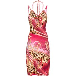 ae9a1a8477590a Sukienka Bonprix bez rękawów w zwierzęcy wzór prosta z dekoltem w serek