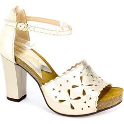 2f81d3e77f394 Euro Moda sandały damskie skórzane na wysokim obcasie gładkie