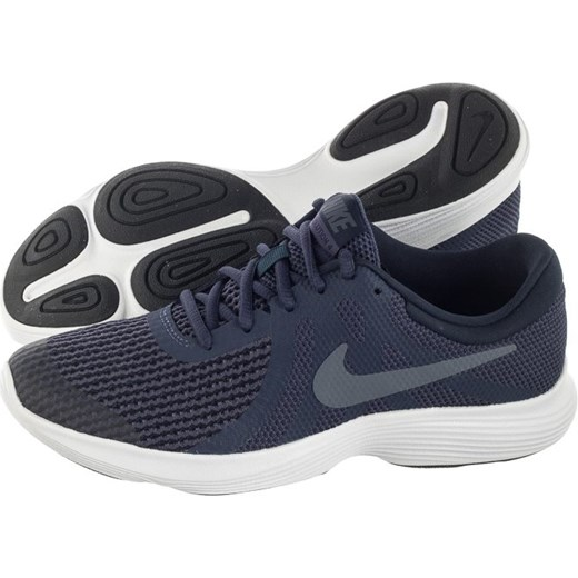 Buty sportowe damskie Nike do biegania revolution wiązane bez wzorów na płaskiej podeszwie