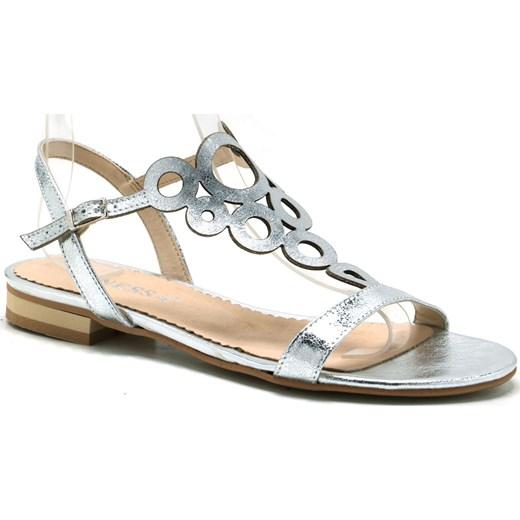 Vanessa sandały damskie bez wzorów z klamrą skórzane