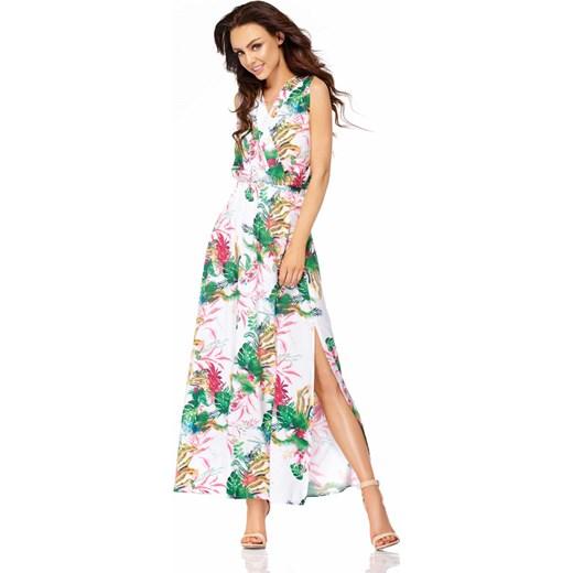 Lemoniade Biała, sukienka z kopertowym dekoltem i kwiatami