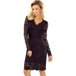 6b730fad Sukienka Numoco czarna na sylwestra dopasowana z długim rękawem
