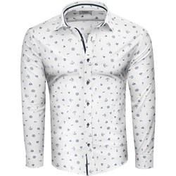 ab8941e8d0d7b9 Koszula męska biała Recea w abstrakcyjnym wzorze bawełniana