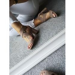 ce1446aa Sandały damskie Calzado brązowe z zamkiem na słupku bez wzorów