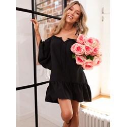 8877bbd57 Sukienka Selfieroom casual z odkrytymi ramionami czarna z dekoltem typu  hiszpanka z długimi rękawami mini