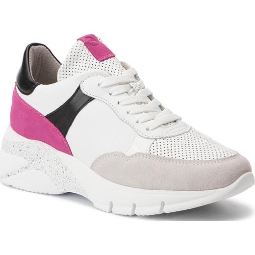 Sneakersy damskie Tamaris sportowe skórzane bez wzorów wiązane jesienne