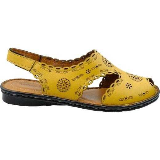 Żółte sandały damskie T.sokolski ze skóry na rzepy bez obcasa Buty Damskie TS żółty Sandały damskie JGWM