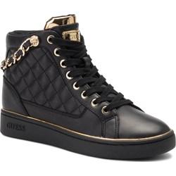 9547ffc0dd Sneakersy damskie Guess na koturnie ze skóry ekologicznej sznurowane