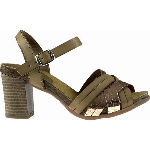 Sandały damskie Verano casual ze skóry bez wzorów z klamrą