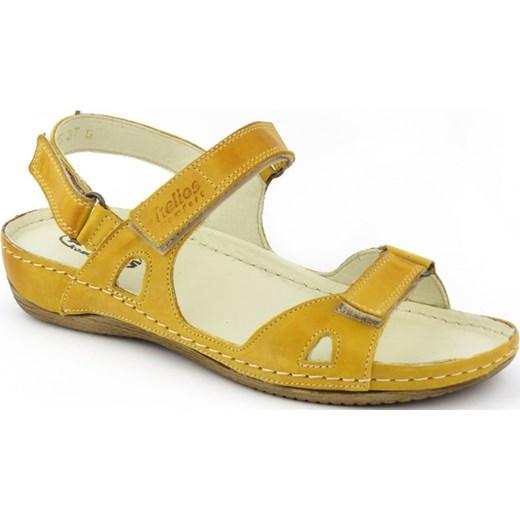 Żółte sandały damskie Helios casual na rzepy bez wzorów skórzane Buty Damskie GF żółty Sandały damskie VKZG