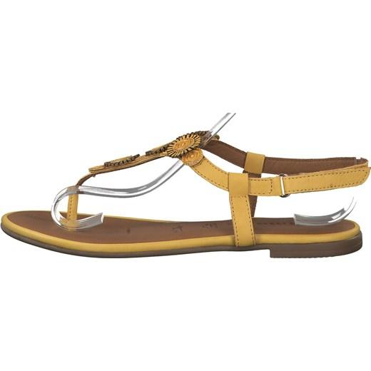 Żółte sandały damskie Tamaris płaskie na lato casual Buty Damskie ZB żółty Sandały damskie MTHS