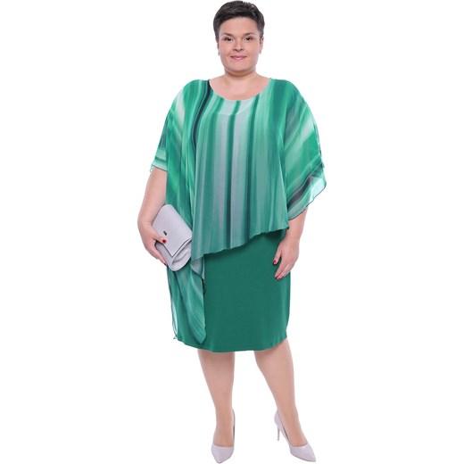 80a3ea0aaae Sukienka z elastanu z okrągłym dekoltem dla puszystych w Domodi