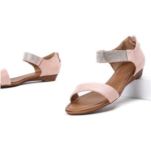 f8169ee1 Różowe sandały na niskiej koturnie Acellia - Obuwie Royalfashion.pl 41 ...