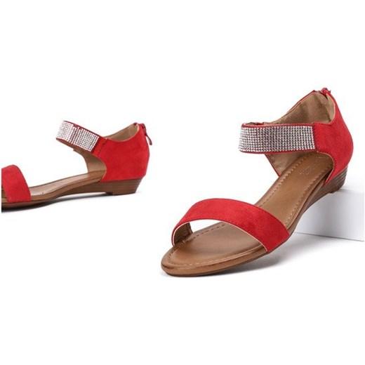 9c22d3d3 Czerwone sandały na niskiej koturnie Acellia - Obuwie Royalfashion.pl 38 ...