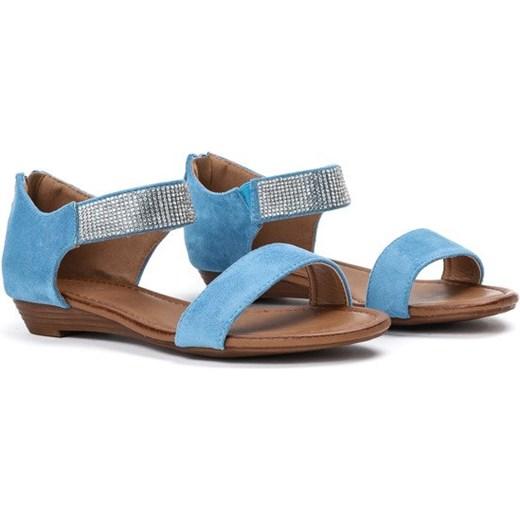 dcc7d05b ... Niebieskie sandały na niskiej koturnie Acellia - Obuwie Royalfashion.pl  41 ...